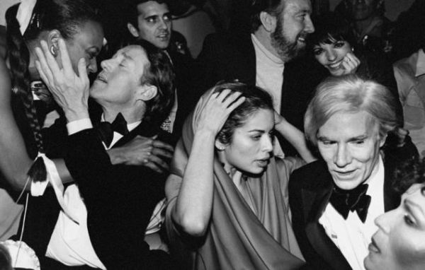 Celebrities during New Year's Eve party at Studio 54: (L-R) Halston, Bianca Jagger, Jack Haley, Jr. and wife Liza Minnelli and Andy Warhol. (Photo by Robin Platzer/Twin Images/Time Life Pictures/Getty Images)